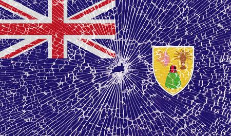 turks: Banderas de las Islas Turcas y Caicos con la textura de vidrio roto. Ilustraci�n