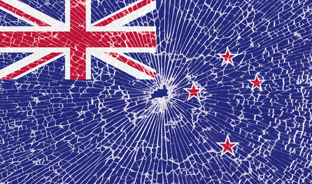 new zeland: Flags of New Zeland with the texture of broken glass. Illustration
