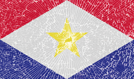 saba: Flags of Saba with the texture of broken glass. Illustration Stock Photo