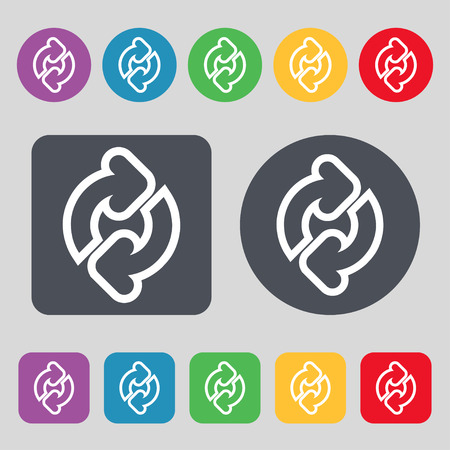 Refresh icon sign. A set of 12 colored buttons. Flat design. Vector illustration Illustration