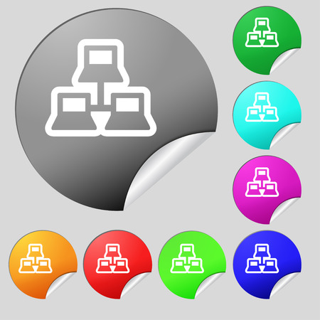 find staff: local area network icon sign. Set of eight multi colored round buttons, stickers. Vector illustration