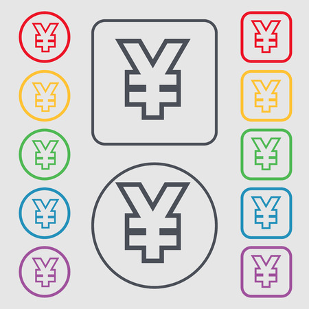 jpy: Yen JPY icon sign. symbol on the Round and square buttons with frame. Vector illustration