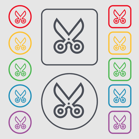 disclosed: scissors icon sign. symbol on the Round and square buttons with frame. Vector illustration