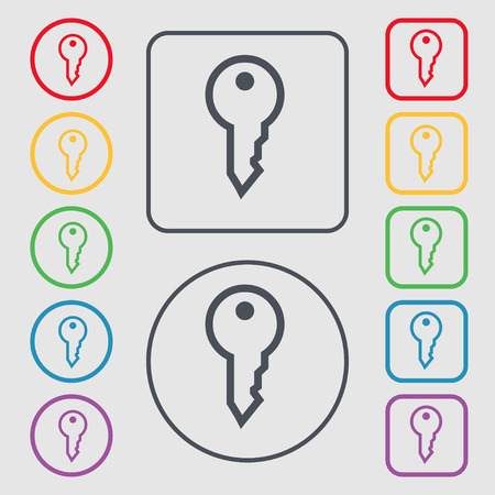 latchkey: Key icon sign. symbol on the Round and square buttons with frame. Vector illustration Illustration