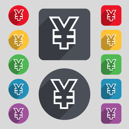 jpy: Yen JPY icon sign. A set of 12 colored buttons and a long shadow. Flat design. Vector illustration