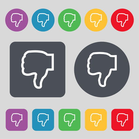 no gustar: Dislike icon sign. A set of 12 colored buttons. Flat design. Vector illustration