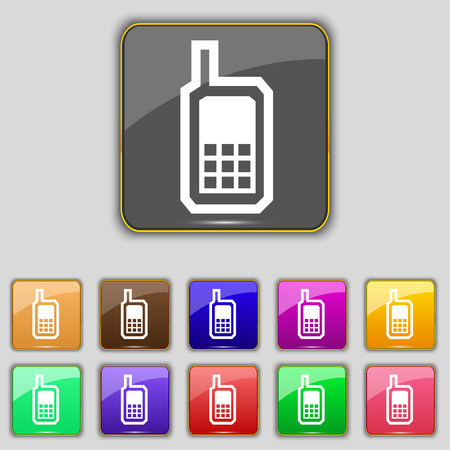 mobile phone icon: Mobile phone icon sign. Set with eleven colored buttons for your site. Vector illustration Illustration