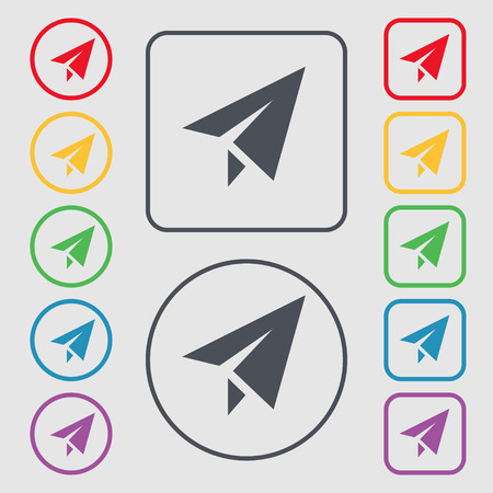paper airplane: Paper airplane icon sign. symbol on the Round and square buttons with frame. Vector illustration