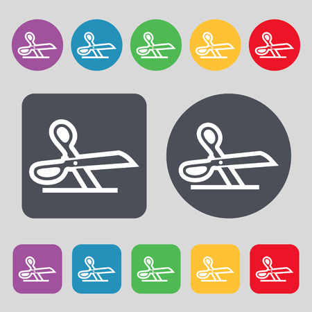 disclosed: scissors icon sign. A set of 12 colored buttons. Flat design. Vector illustration