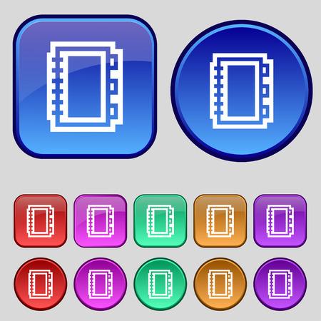 videobook: Book icon sign. A set of twelve vintage buttons for your design. Vector illustration