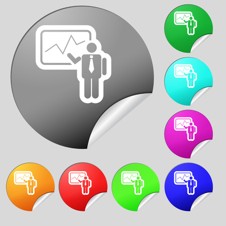 making: businessman making report icon sign. Set of eight multi colored round buttons, stickers. Vector illustration