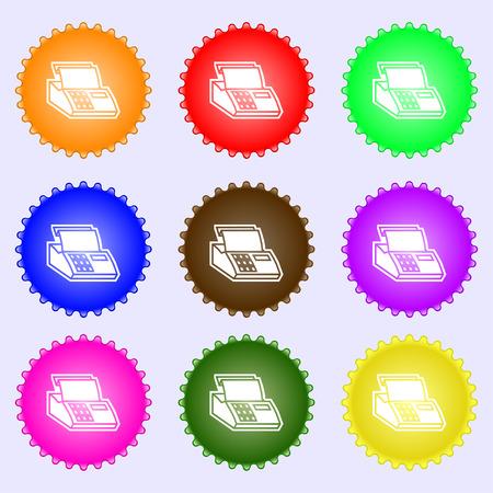 checkout line: Cash register machine icon sign. A set of nine different colored labels. Vector illustration