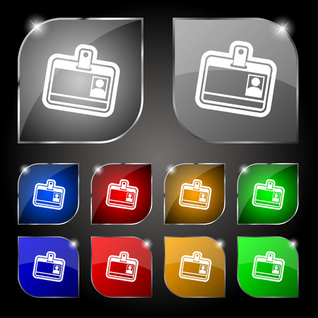 recognizing: Id card icon sign. Set of ten colorful buttons with glare. Vector illustration