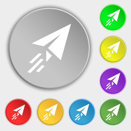 paper airplane: Paper airplane icon sign. Symbol on eight flat buttons. Vector illustration Illustration