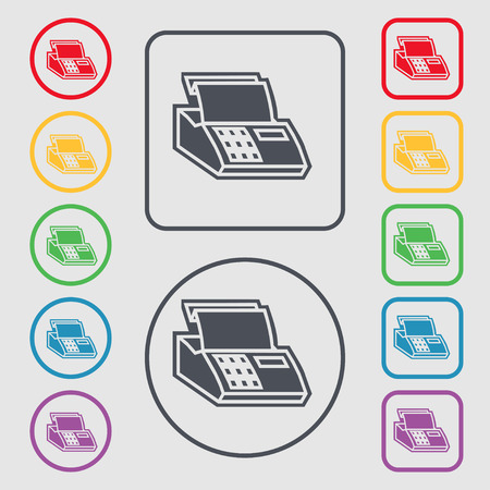 checkout line: Cash register machine icon sign. symbol on the Round and square buttons with frame. Vector illustration