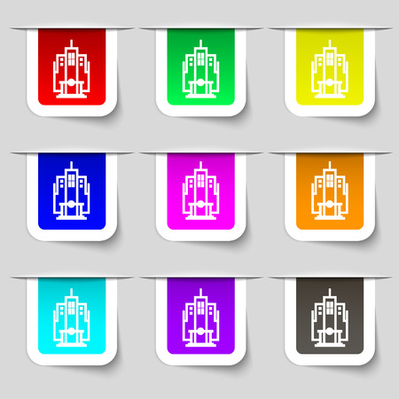 residential neighborhood: skyscraper icon sign. Set of multicolored modern labels for your design. Vector illustration