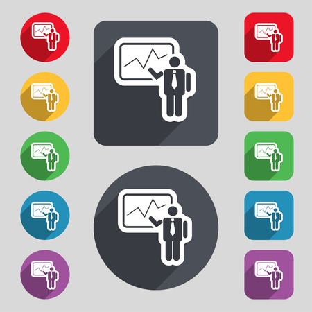 report icon: businessman making report icon sign. A set of 12 colored buttons and a long shadow. Flat design. Vector illustration Illustration