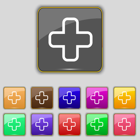 Plus icon sign. Set with eleven colored buttons for your site. Vector illustration