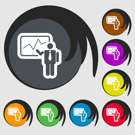 sign making: businessman making report icon sign. Symbol on eight colored buttons. Vector illustration