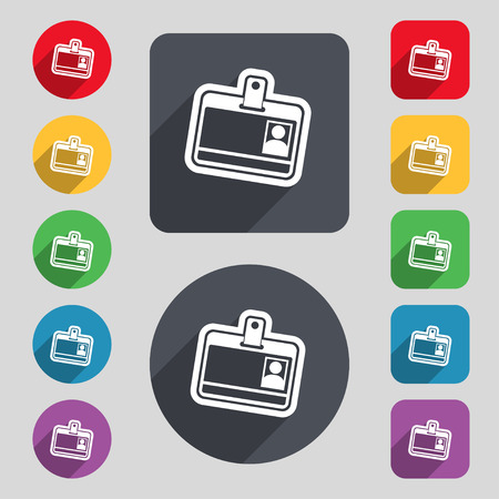 recognizing: Id card icon sign. A set of 12 colored buttons and a long shadow. Flat design. Vector illustration