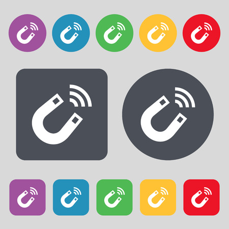 electromagnetism: Magnet icon sign. A set of 12 colored buttons. Flat design. Vector illustration
