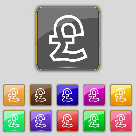 foreign currency: Pound Sterling icon sign. Set with eleven colored buttons for your site. Vector illustration Illustration