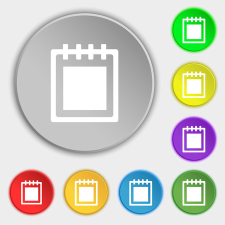 paperboard: Notepad icon sign. Symbol on eight flat buttons. Vector illustration
