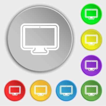 monitor icon sign. Symbol on eight flat buttons. Vector illustration Illustration