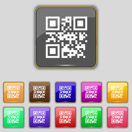 coded: Qr code icon sign. Set with eleven colored buttons for your site. Vector illustration Illustration