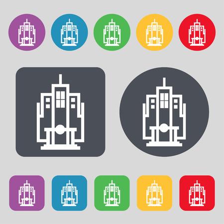headquarter: skyscraper icon sign. A set of 12 colored buttons. Flat design. Vector illustration Illustration