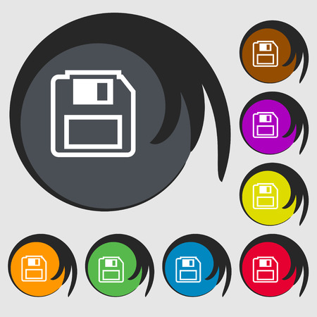device disc: floppy disk icon sign. Symbol on eight colored buttons. Vector illustration