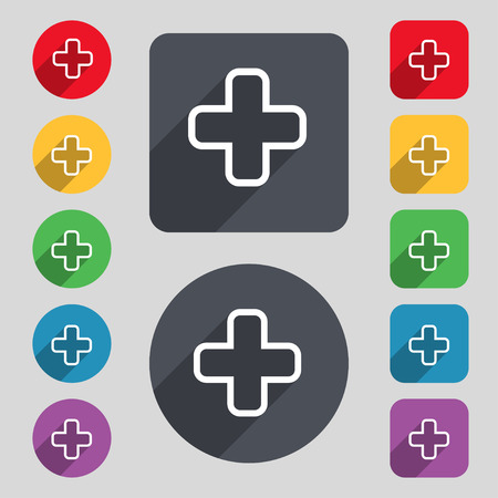 information icon: Plus icon sign. A set of 12 colored buttons and a long shadow. Flat design. Vector illustration