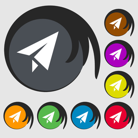 paper airplane: Paper airplane icon sign. Symbol on eight colored buttons. Vector illustration