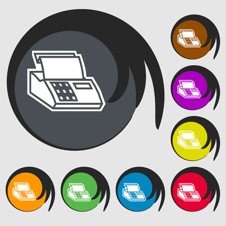 checkout line: Cash register machine icon sign. Symbol on eight colored buttons. Vector illustration Illustration