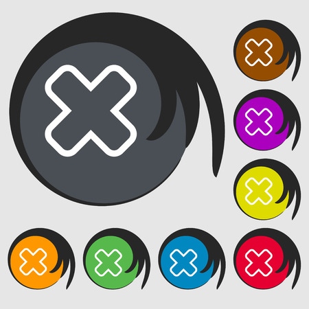 dismiss: Cancel icon sign. Symbol on eight colored buttons. Vector illustration