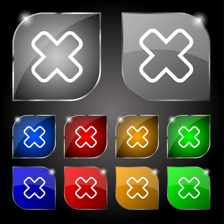 dismiss: Cancel icon sign. Set of ten colorful buttons with glare. Vector illustration