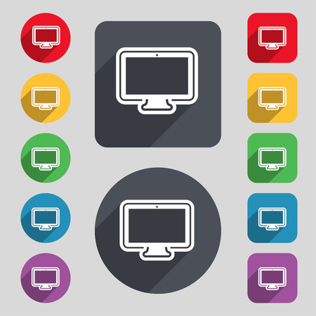 oled: monitor icon sign. A set of 12 colored buttons and a long shadow. Flat design. Vector illustration