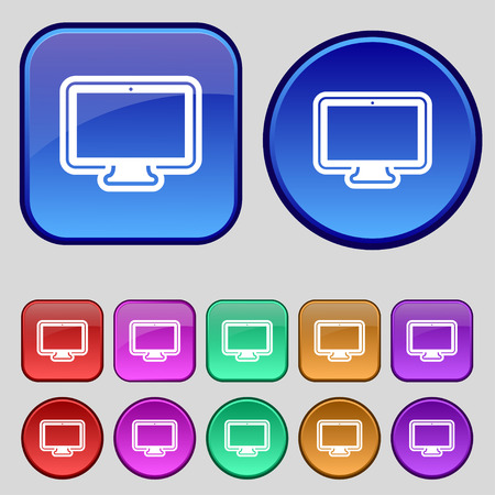 oled: monitor icon sign. A set of twelve vintage buttons for your design. Vector illustration