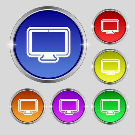 monitor icon sign. Round symbol on bright colourful buttons. Vector illustration Illustration