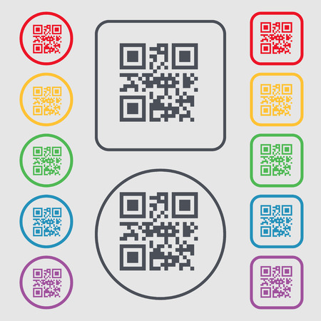 Qr code icon sign. symbol on the Round and square buttons with frame. Vector illustration