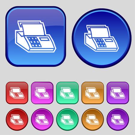 checkout line: Cash register machine icon sign. A set of twelve vintage buttons for your design. Vector illustration Illustration