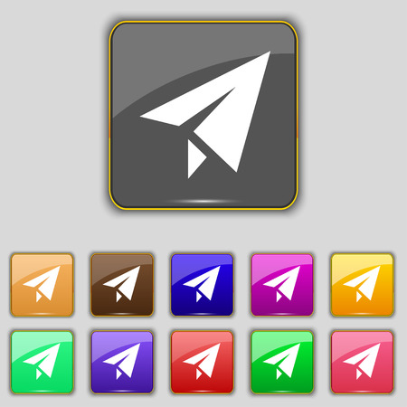 paper airplane: Paper airplane icon sign. Set with eleven colored buttons for your site. Vector illustration Illustration