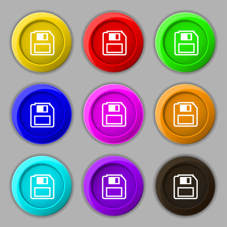 device disc: floppy disk icon sign. symbol on nine round colourful buttons. Vector illustration Illustration