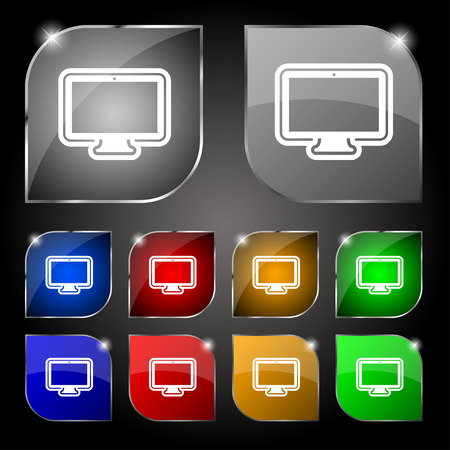 oled: monitor icon sign. Set of ten colorful buttons with glare. Vector illustration
