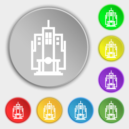 residential neighborhood: skyscraper icon sign. Symbol on eight flat buttons. Vector illustration