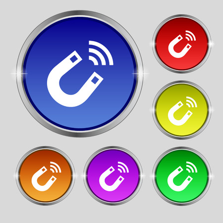 electromagnetism: Magnet icon sign. Round symbol on bright colourful buttons. Vector illustration Illustration