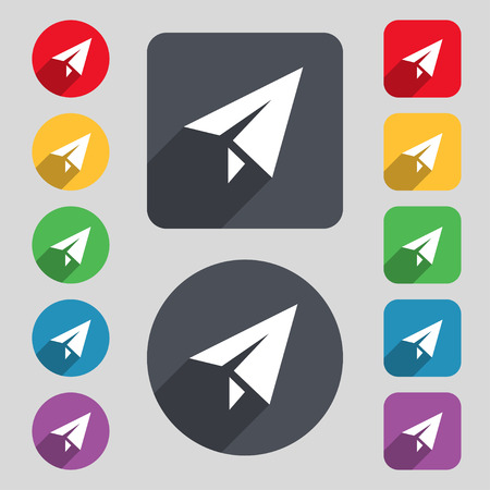 paper airplane: Paper airplane icon sign. A set of 12 colored buttons and a long shadow. Flat design. Vector illustration Illustration