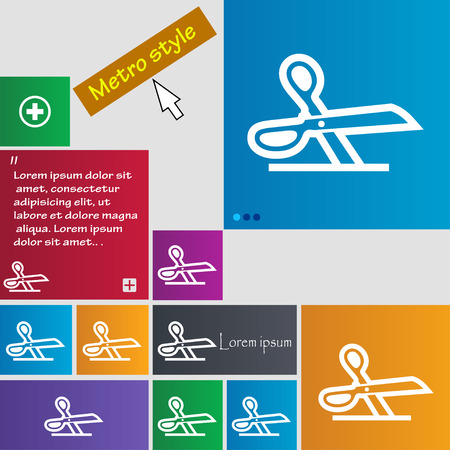 snip: scissors icon sign. buttons. Modern interface website buttons with cursor pointer. Vector illustration