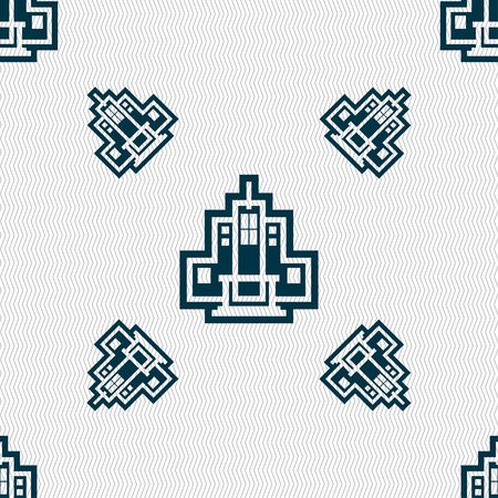 headquarter: skyscraper icon sign. Seamless pattern with geometric texture. Vector illustration