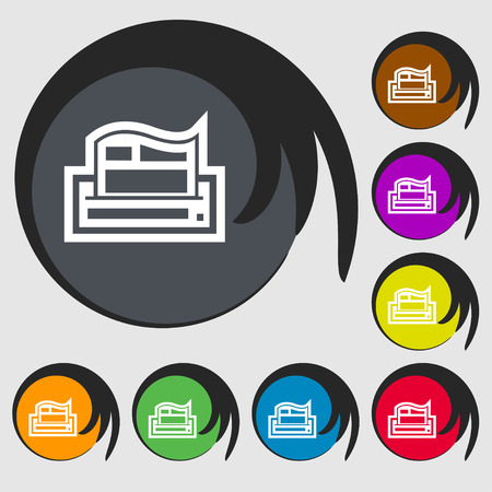 sign symbol: Newspaper icon sign. Symbol on eight colored buttons. Vector illustration